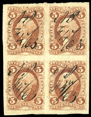 Values of US Stamps Scott Catalog #R27 - 1862 5c Revenue Inland Exchange. Matthew Bennett International, Dec 2008, Sale 330, Lot 1967