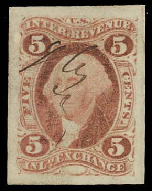 Value of US Stamp Scott # R27: 5c 1862 Revenue Inland Exchange. Daniel Kelleher Auctions, Oct 2012, Sale 632, Lot 1610