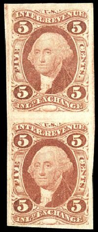 Values of US Stamp Scott Catalog #R27 - 1862 5c Revenue Inland Exchange. Matthew Bennett International, Dec 2008, Sale 330, Lot 1966