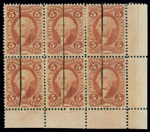 Prices of US Stamp Scott Cat. R28: 1863 5c Revenue Playing Cards. Matthew Bennett International, Jun 2008, Sale 328, Lot 1365