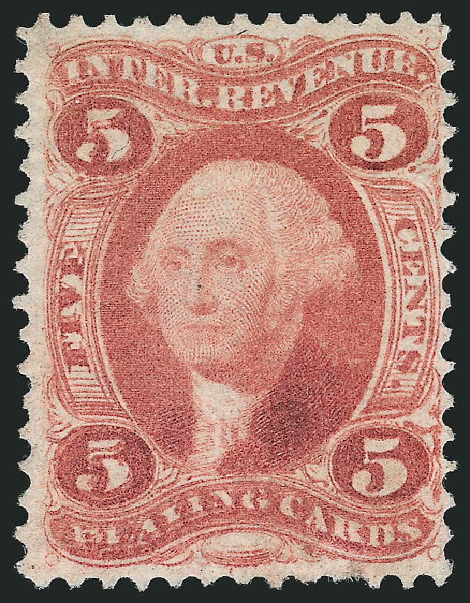 Values of US Stamp Scott R28: 5c 1863 Revenue Playing Cards. Robert Siegel Auction Galleries, Mar 2014, Sale 1066, Lot 63