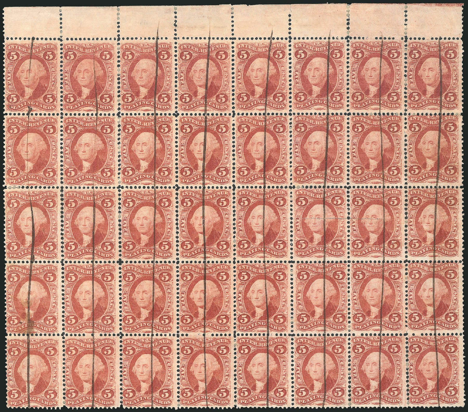 US Stamps Values Scott Cat. # R28 - 5c 1863 Revenue Playing Cards. Robert Siegel Auction Galleries, Dec 2014, Sale 1089, Lot 426