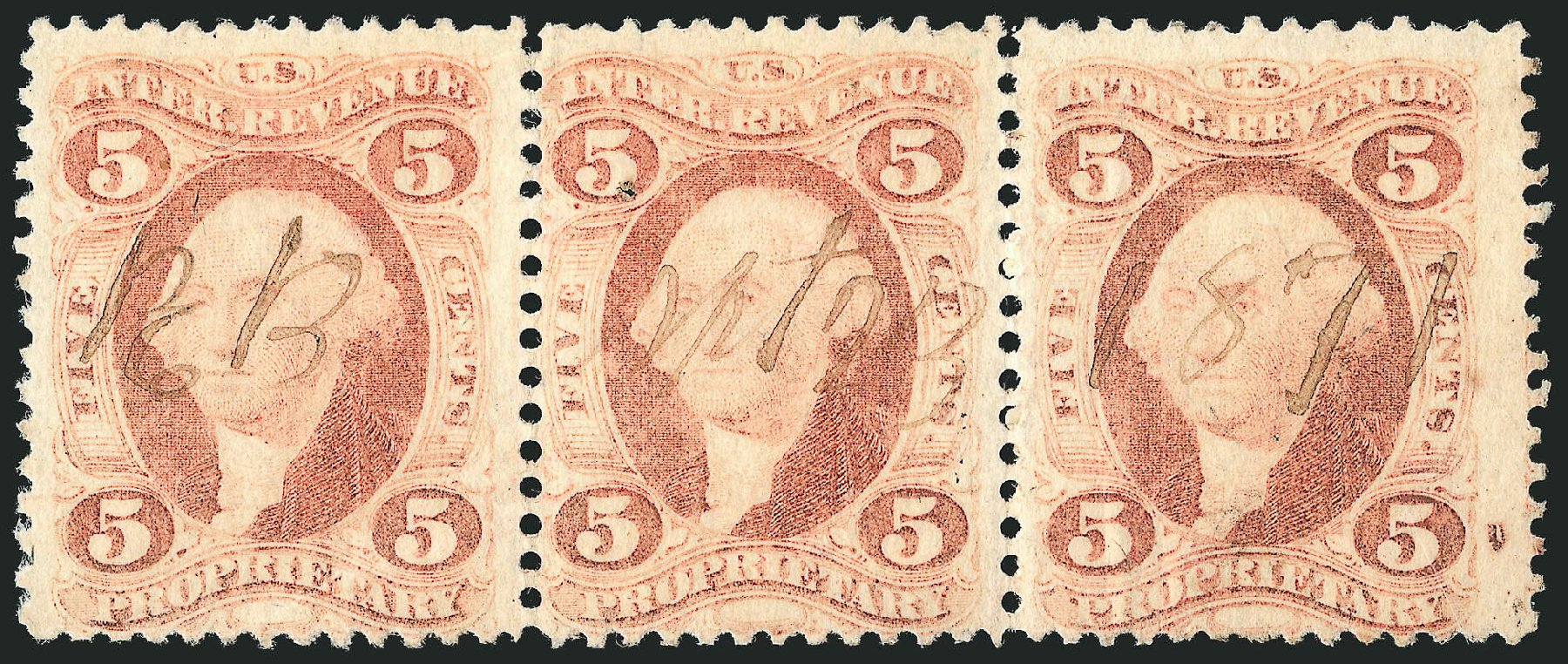 Costs of US Stamp Scott Catalogue R29: 5c 1864 Revenue Proprietary. Robert Siegel Auction Galleries, Dec 2014, Sale 1089, Lot 459