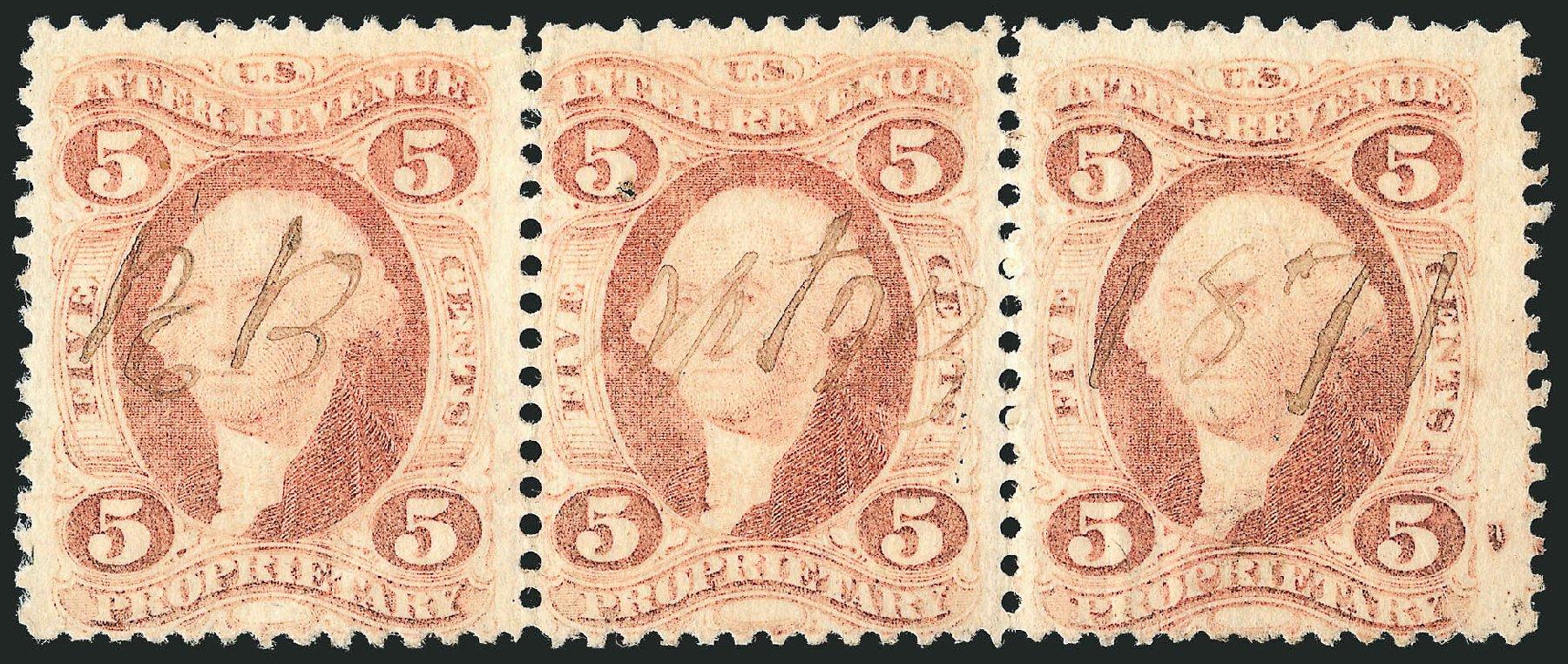 Costs of US Stamp Scott Catalogue R29: 5c 1864 Revenue Proprietary. Robert Siegel Auction Galleries, Dec 2014, Sale 1089, Lot 459