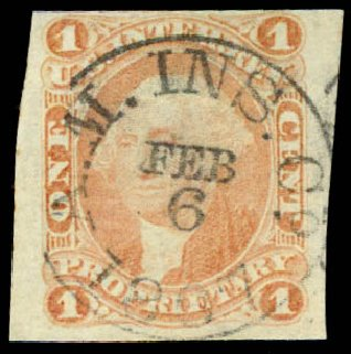 US Stamp Price Scott Cat. R3: 1c 1862 Revenue Proprietary. Daniel Kelleher Auctions, Jun 2015, Sale 670, Lot 4