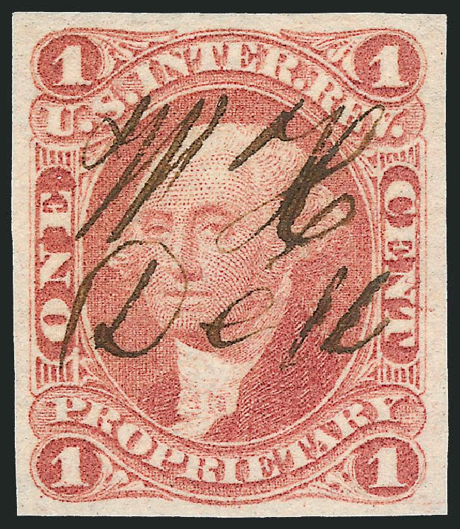 Value of US Stamp Scott Catalog #R3: 1c 1862 Revenue Proprietary. Robert Siegel Auction Galleries, Nov 2011, Sale 1015, Lot 2