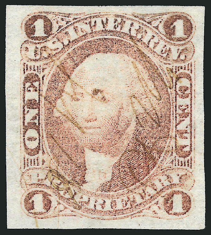 Prices of US Stamp Scott Catalogue #R3 - 1862 1c Revenue Proprietary. Robert Siegel Auction Galleries, Mar 2014, Sale 1066, Lot 3