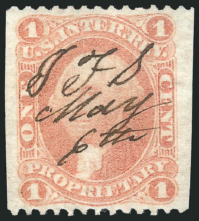 Price of US Stamp Scott #R3 - 1862 1c Revenue Proprietary. Robert Siegel Auction Galleries, Dec 2014, Sale 1089, Lot 283