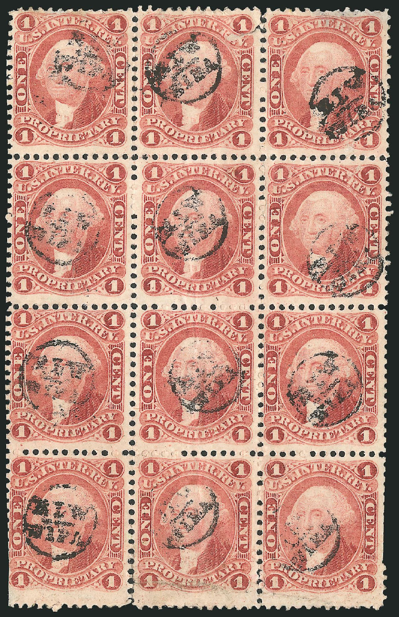 US Stamp Value Scott Catalogue # R3 - 1862 1c Revenue Proprietary. Robert Siegel Auction Galleries, Dec 2014, Sale 1089, Lot 453