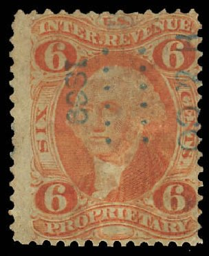 Values of US Stamp Scott Cat. R31 - 6c 1871 Revenue Proprietary. Daniel Kelleher Auctions, Aug 2012, Sale 631, Lot 1817