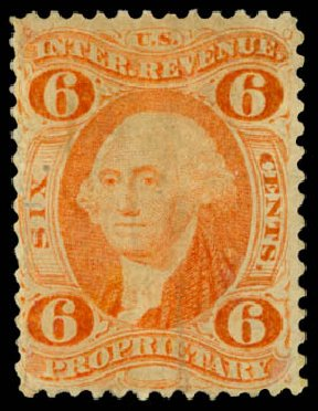 Cost of US Stamp Scott Catalog R31: 6c 1871 Revenue Proprietary. Daniel Kelleher Auctions, May 2014, Sale 652, Lot 969