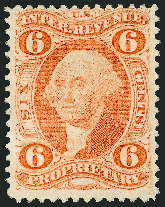 Prices of US Stamps Scott Catalogue R31 - 1871 6c Revenue Proprietary. Robert Siegel Auction Galleries, Mar 2014, Sale 1066, Lot 64