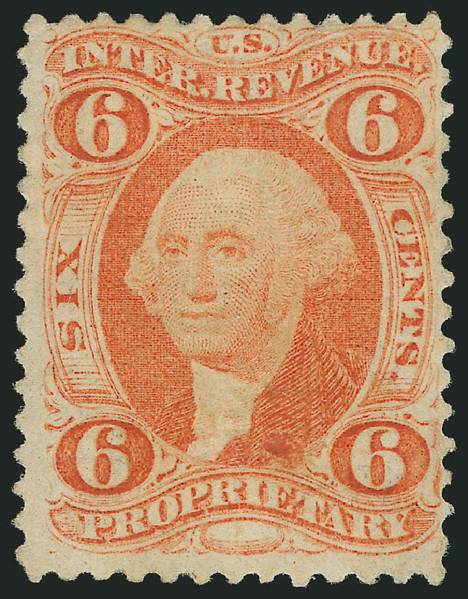 US Stamps Value Scott R31 - 1871 6c Revenue Proprietary. Robert Siegel Auction Galleries, Dec 2014, Sale 1089, Lot 304