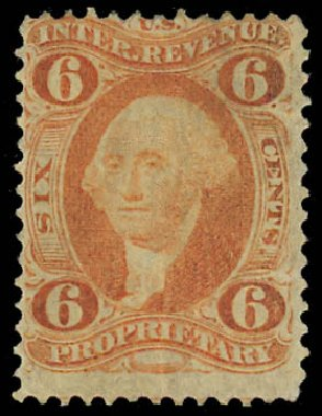 US Stamp Price Scott Catalog #R31 - 6c 1871 Revenue Proprietary. Daniel Kelleher Auctions, Jul 2011, Sale 625, Lot 1305
