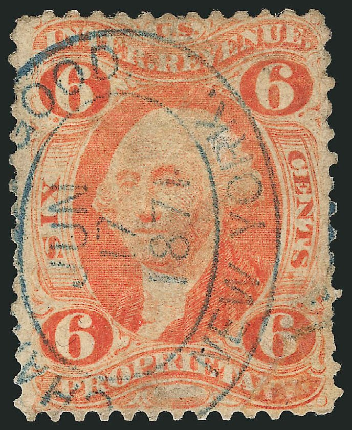 Value of US Stamp Scott Catalogue R31 - 1871 6c Revenue Proprietary. Robert Siegel Auction Galleries, Mar 2014, Sale 1067, Lot 525