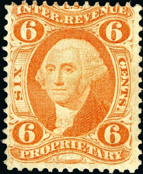 US Stamps Prices Scott Catalog R31 - 1871 6c Revenue Proprietary. Spink Shreves Galleries, Jan 2015, Sale 150, Lot 282