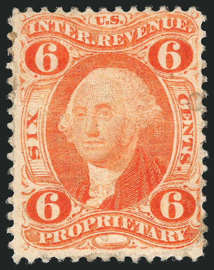 US Stamp Values Scott Catalogue # R31: 6c 1871 Revenue Proprietary. Robert Siegel Auction Galleries, Nov 2013, Sale 1061, Lot 4273