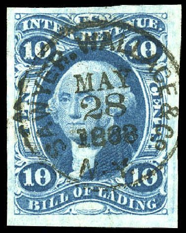 US Stamps Values Scott Catalog R32 - 1862 10c Revenue Bill of Lading. Matthew Bennett International, Dec 2008, Sale 330, Lot 1969