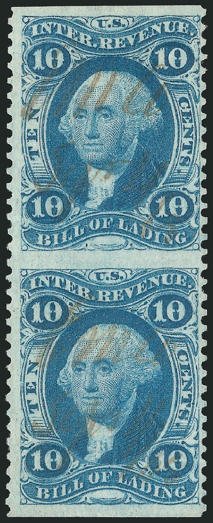 Values of US Stamp Scott Catalogue R32 - 10c 1862 Revenue Bill of Lading. Robert Siegel Auction Galleries, Dec 2014, Sale 1089, Lot 291