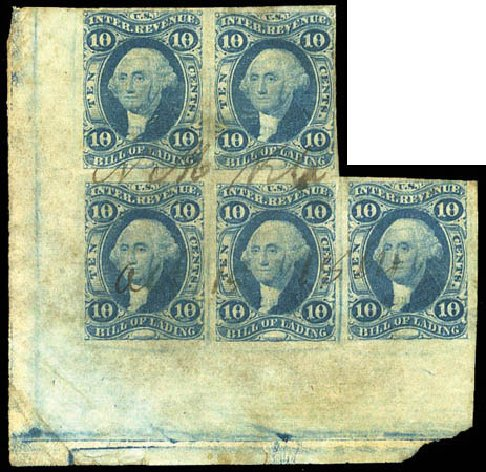 Prices of US Stamp Scott # R32: 1862 10c Revenue Bill of Lading. Matthew Bennett International, Mar 2011, Sale 337, Lot 3284