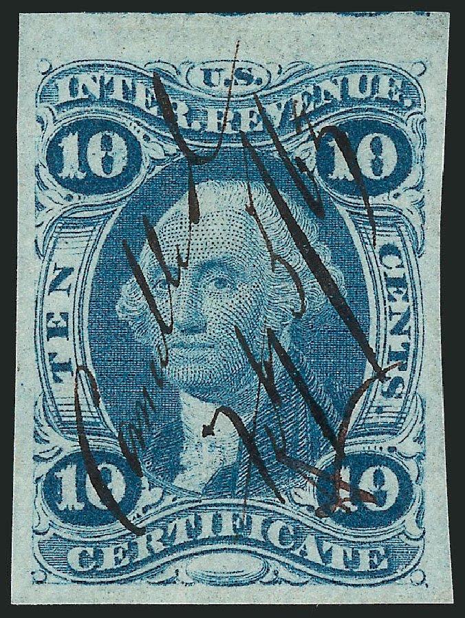 Price of US Stamps Scott Cat. R33 - 1862 10c Revenue Certificate. Robert Siegel Auction Galleries, Nov 2011, Sale 1015, Lot 7