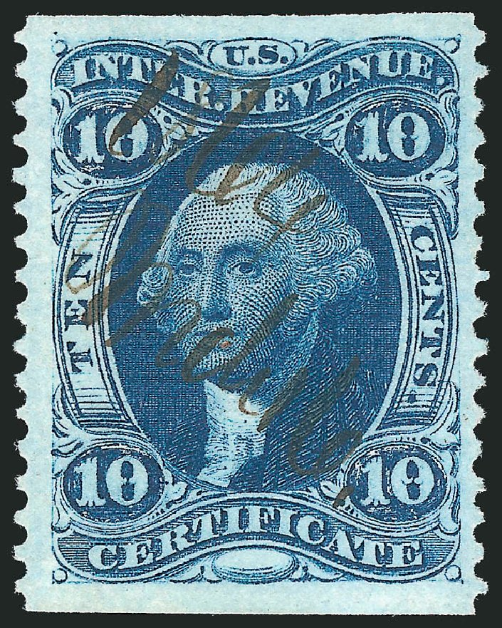 Cost of US Stamp Scott Catalog R33 - 10c 1862 Revenue Certificate. Robert Siegel Auction Galleries, Mar 2014, Sale 1066, Lot 49