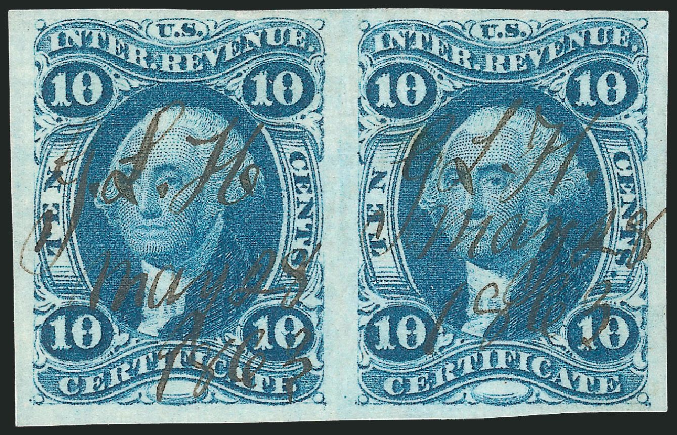 Values of US Stamp Scott Catalogue # R33: 1862 10c Revenue Certificate. Robert Siegel Auction Galleries, Dec 2014, Sale 1089, Lot 220
