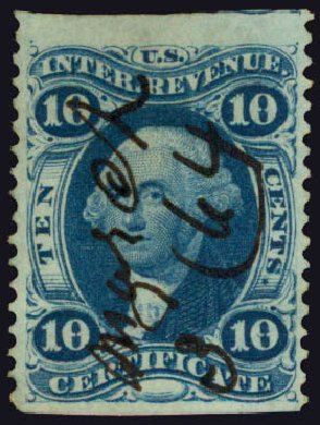 US Stamp Prices Scott #R33 - 10c 1862 Revenue Certificate. Daniel Kelleher Auctions, May 2015, Sale 665, Lot 32