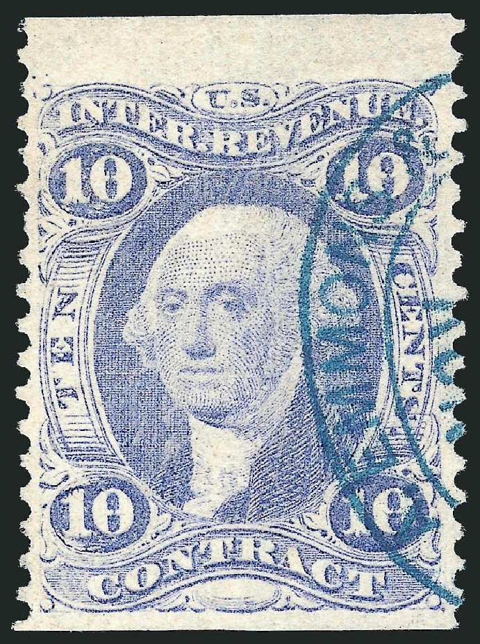 Costs of US Stamps Scott Catalogue # R34 - 10c 1862 Revenue Contract. Robert Siegel Auction Galleries, Mar 2014, Sale 1066, Lot 50