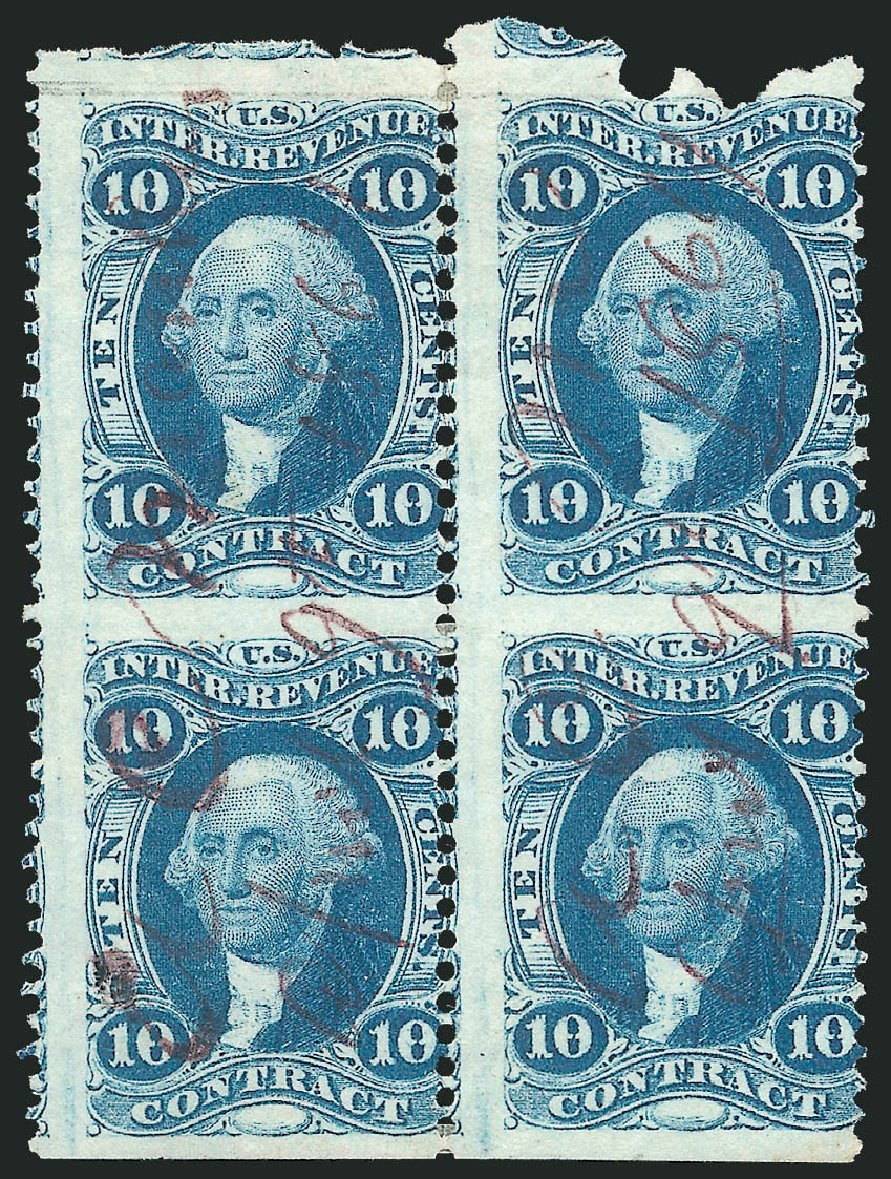 Value of US Stamp Scott R34: 1862 10c Revenue Contract. Robert Siegel Auction Galleries, Dec 2014, Sale 1089, Lot 401