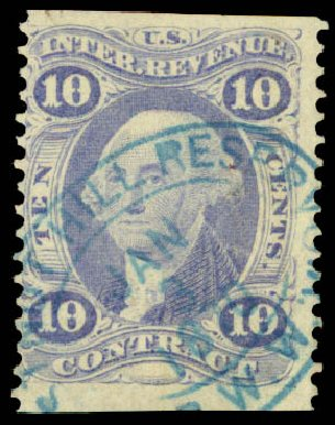Prices of US Stamp Scott Catalogue #R34: 10c 1862 Revenue Contract. Daniel Kelleher Auctions, May 2015, Sale 665, Lot 34