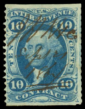 US Stamp Values Scott Cat. R34: 10c 1862 Revenue Contract. Daniel Kelleher Auctions, Aug 2015, Sale 672, Lot 3064