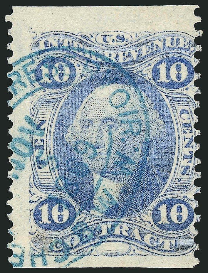 Values of US Stamps Scott Cat. R34 - 1862 10c Revenue Contract. Robert Siegel Auction Galleries, Dec 2014, Sale 1089, Lot 294