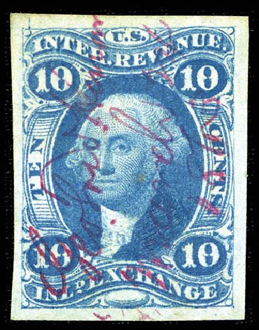 US Stamps Prices Scott Cat. R36 - 1862 10c Revenue Inland Exchange. Matthew Bennett International, Feb 2012, Sale 340, Lot 618