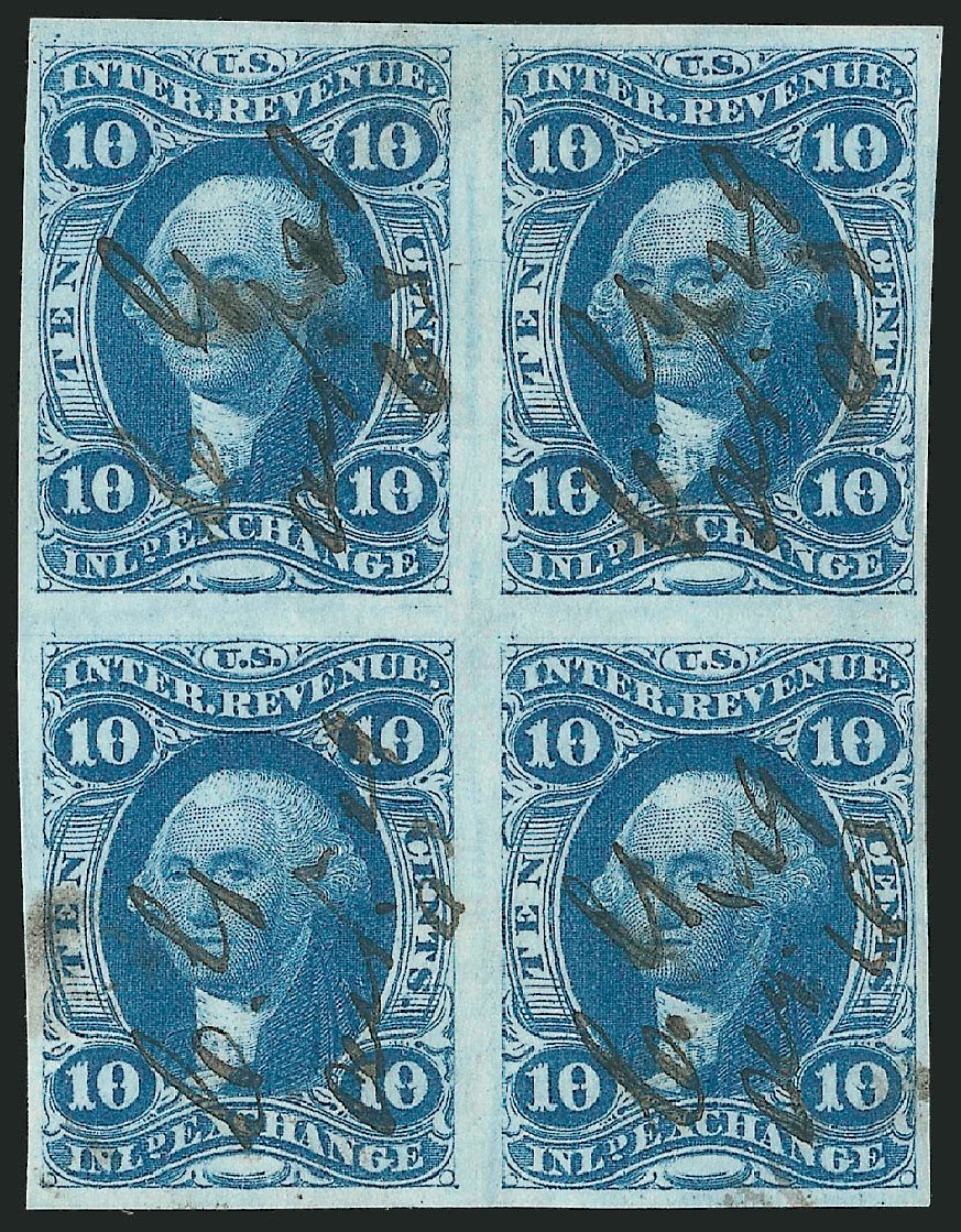 US Stamps Values Scott Cat. R36: 10c 1862 Revenue Inland Exchange. Robert Siegel Auction Galleries, Dec 2014, Sale 1089, Lot 329