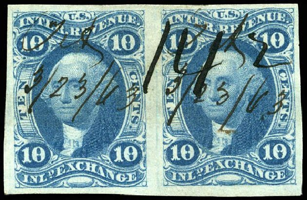 Costs of US Stamps Scott Catalog R36 - 10c 1862 Revenue Inland Exchange. Matthew Bennett International, Apr 2008, Sale 326, Lot 812