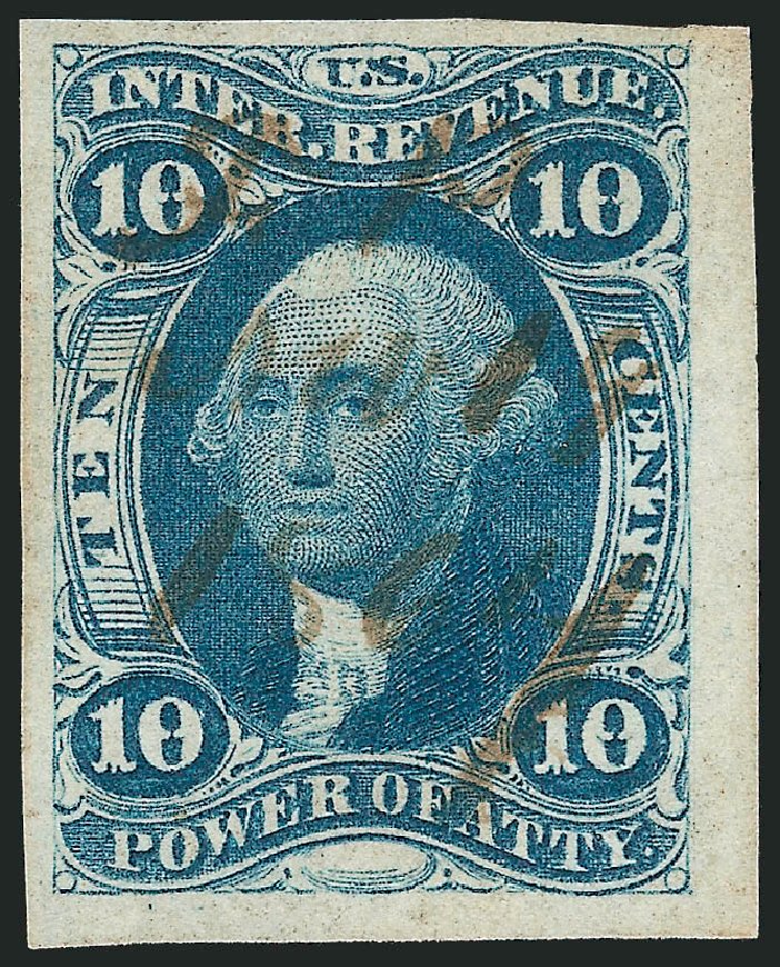 US Stamps Prices Scott Cat. R37: 1862 10c Revenue Power of Attorney. Robert Siegel Auction Galleries, Nov 2011, Sale 1015, Lot 9
