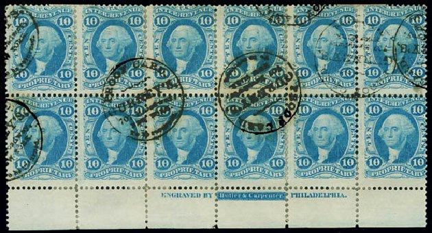 US Stamps Values Scott Catalog R38 - 10c 1864 Revenue Proprietary. Matthew Bennett International, Jun 2008, Sale 328, Lot 1370