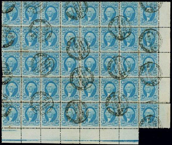 Costs of US Stamps Scott R38: 10c 1864 Revenue Proprietary. Matthew Bennett International, Jun 2008, Sale 328, Lot 1371