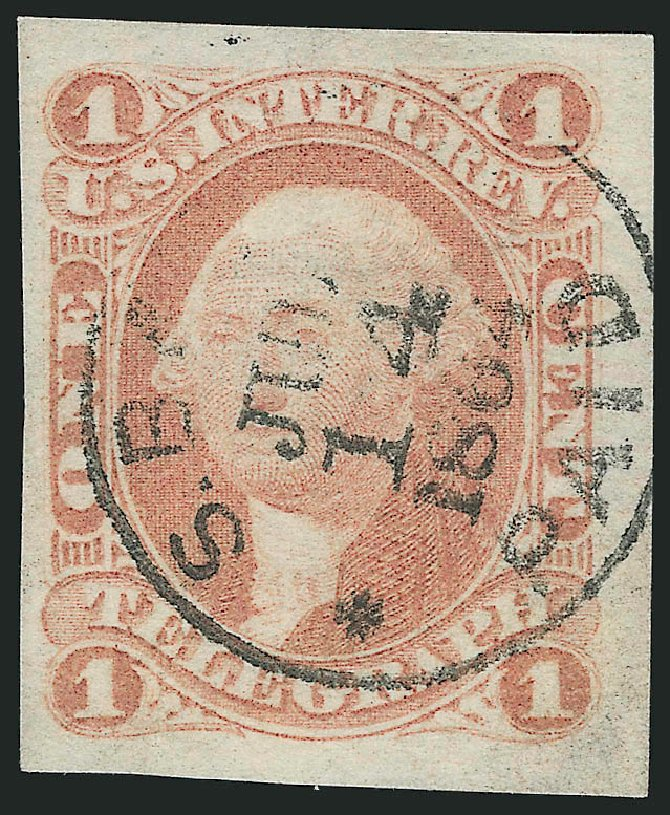 US Stamp Prices Scott Catalog # R4: 1862 1c Revenue Telegraph. Robert Siegel Auction Galleries, Jul 2015, Sale 1107, Lot 657
