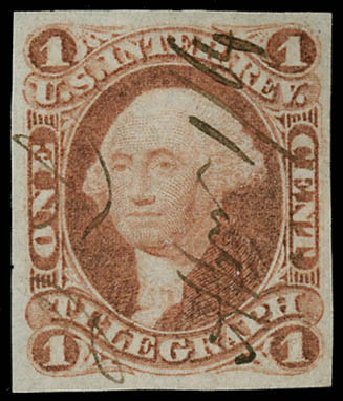 US Stamp Values Scott #R4: 1862 1c Revenue Telegraph. Matthew Bennett International, Jun 2008, Sale 328, Lot 1359