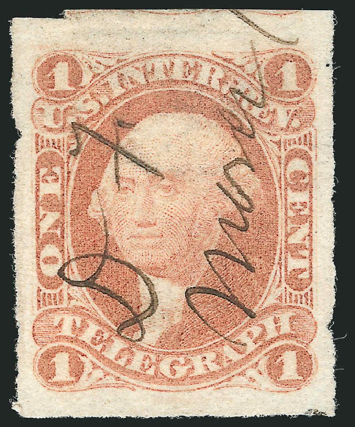 Values of US Stamps Scott R4: 1862 1c Revenue Telegraph. Robert Siegel Auction Galleries, Dec 2014, Sale 1089, Lot 209