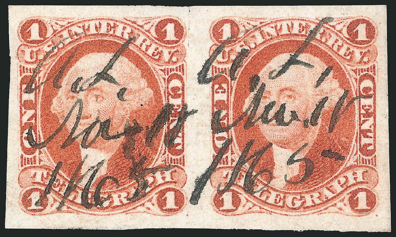 US Stamp Price Scott #R4: 1862 1c Revenue Telegraph. Robert Siegel Auction Galleries, Dec 2014, Sale 1089, Lot 210