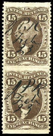 US Stamp Prices Scott Catalogue #R40: 1862 15c Revenue Inland Exchange. Matthew Bennett International, Dec 2008, Sale 330, Lot 1971