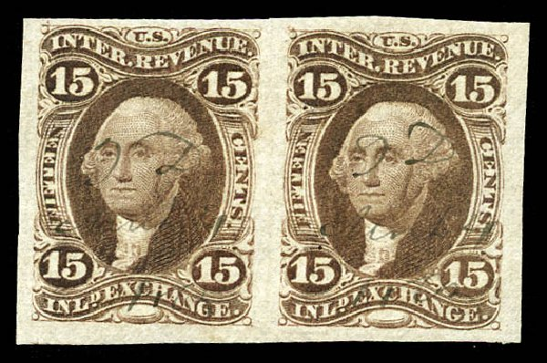 Value of US Stamp Scott #R40 - 1862 15c Revenue Inland Exchange. Matthew Bennett International, Mar 2012, Sale 344, Lot 4834