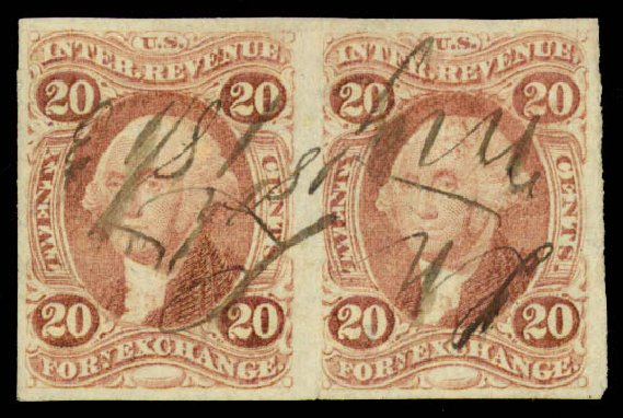 Price of US Stamps Scott Cat. # R41 - 1862 20c Revenue Foreign Exchange. Daniel Kelleher Auctions, May 2015, Sale 665, Lot 47
