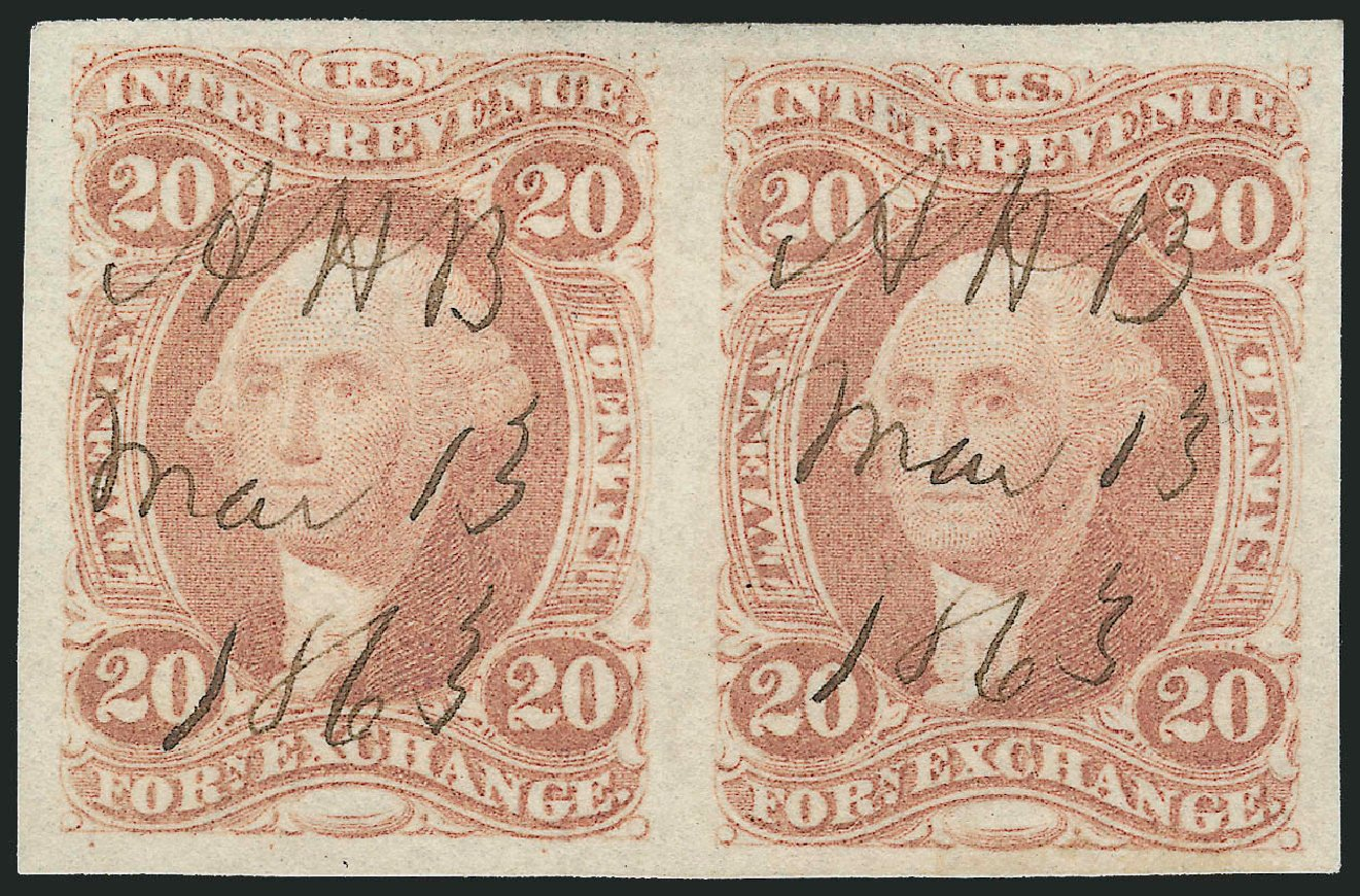 US Stamps Value Scott Cat. #R41: 20c 1862 Revenue Foreign Exchange. Robert Siegel Auction Galleries, Jun 2011, Sale 1011, Lot 940