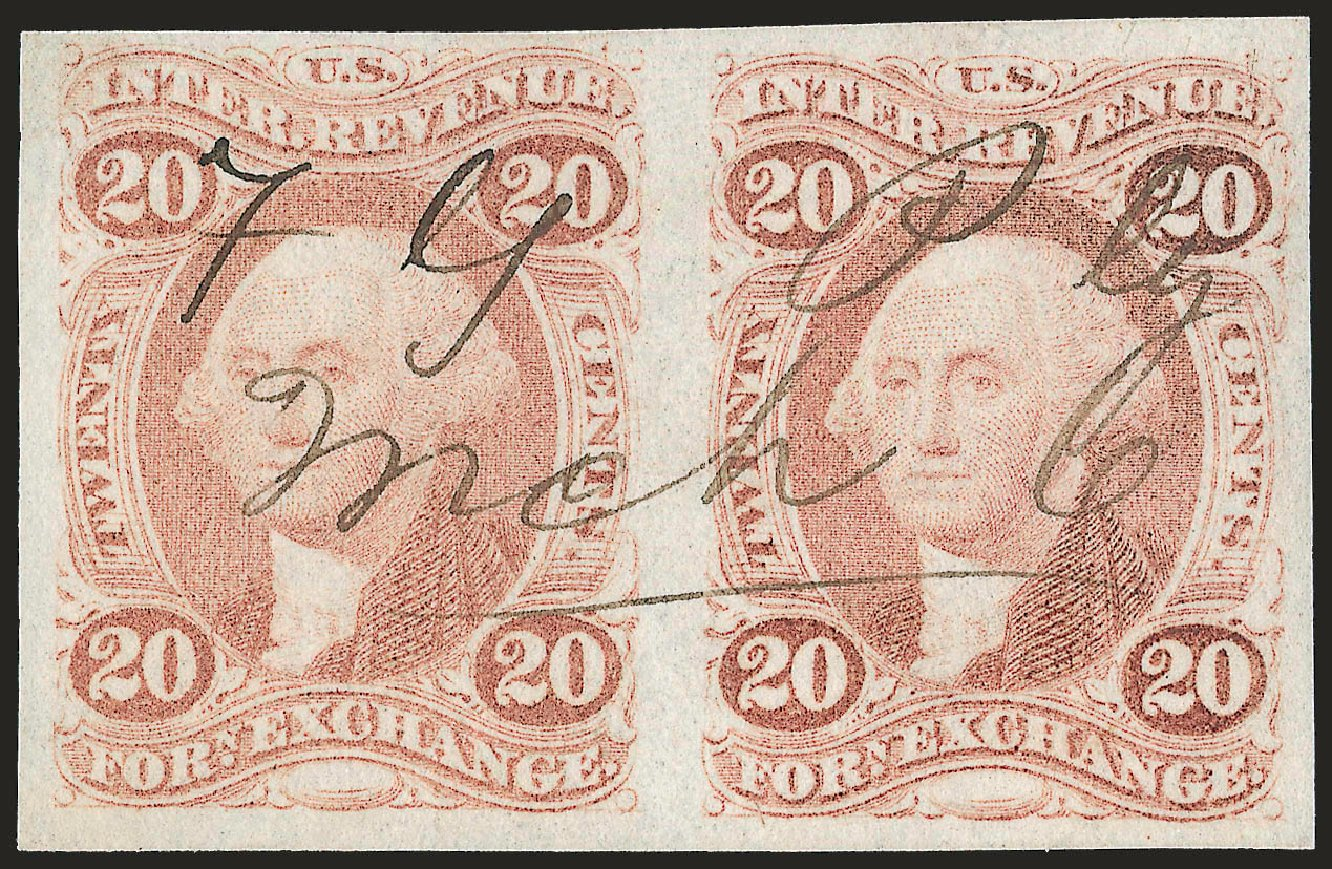 Costs of US Stamps Scott #R41: 20c 1862 Revenue Foreign Exchange. Robert Siegel Auction Galleries, Jun 2009, Sale 975, Lot 2290