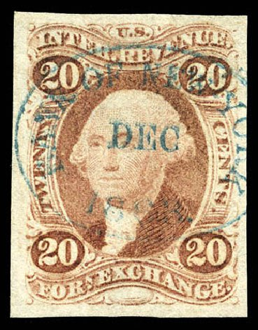 US Stamps Price Scott Catalogue # R41: 20c 1862 Revenue Foreign Exchange. Matthew Bennett International, Mar 2012, Sale 344, Lot 4835