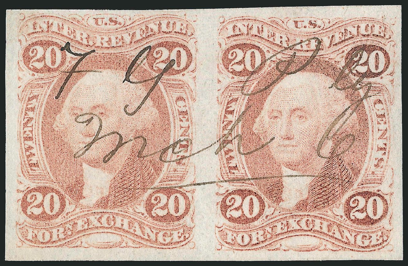 Costs of US Stamp Scott Catalog #R41 - 1862 20c Revenue Foreign Exchange. Robert Siegel Auction Galleries, Jun 2012, Sale 1026, Lot 1575
